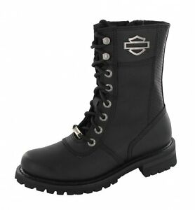 """Harley Davidson Shoes - Boots Matisa - Black 10"""" Lace Up Boot Leather Zip Biker"""