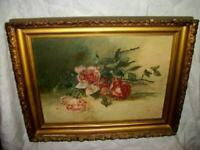 1900s FRENCH ROSES OIL PAINTING FARMHOUSE SLIGHTLY CHIPPY GILT FRAME SIGNED 1903