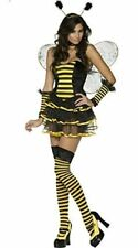 Ladies 6 Piece Bumble Bee Costume Size 10-12 Wings Dress Cuffs Headband & Thong