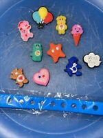 Care Bears Lot Of 10 Shoe & Lace Adapter Charms + 1 Bracelet