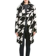 Women Houndstooth Wool Coat Black White 7 For All Mankind Jacket SZ 4 MSRP $699