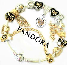 Authentic Pandora Bracelet Bangle Silver Gold Hearts with European Charms New