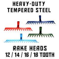 Tempered Steel Metal Rake Head Heavy Duty Replacement ❀ Lawn Leaves Garden ❀ EU