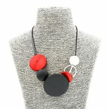 Lady Fashion Jewellery Girls Round Wood Red Black Party Boho Necklace For Women