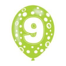 Paquete de 6 Estampado Multicolor Feliz 9 Cumpleaños 9 Hoy Globo Látex Helio