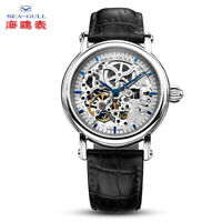 Seagull Men's Automatic watch Hollow out Fashion Analog Steel case Leather Band
