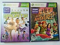 Xbox 360 Kinect Sports and Kinect Adventures! Games Lot of 2