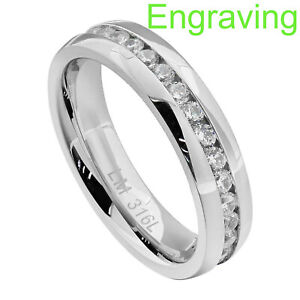 6mm Dazzling Stainless Steel Eternity Multiple Round Cubic Zirconia Wedding Band