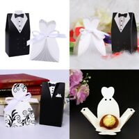 100pcs Bride and Groom Wedding Candy Boxes Sweets Gift For Guest W/ Ribbon new