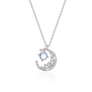 "Women 925 Sterling Silver Moon Crescent Opal CZ Stone Pendant Necklace 17"" PE55"