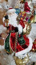 Santa Septer Gifts Candle Lantern Glass Christmas Tree Ornament Poland 020072