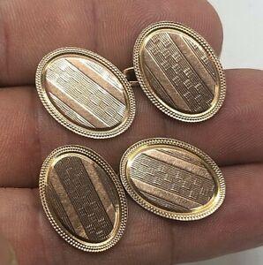 Vintage 9ct Gold Cufflinks Oval Pattern Design 8.2g