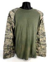 Tru Spec Combat Shirt Men Size LR Cordura Baselayer Long Sleeve Olive Green Camu