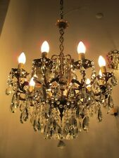 Antique Vnt Gigantic 10 arms & Chrubs Crystal Chandelier Lamp Light 1940's RR