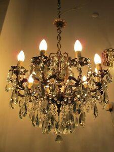 Antique Vnt Gigantic 10 arms & Chrubs Crystal Chandelier Lamp Light 1940's RR
