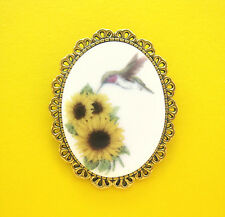 Sunflowers Porcelain Cameo Pin Brooch Porcelain Ruby Throated Hummingbird and