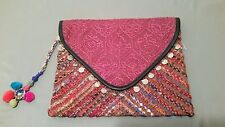 New Billabong Embroidered Coin Trim Faux Leather Clutch Bag Purse W/Tassel