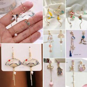 Retro Folding Fan Crane Chinese Style Earrings Tassel Dangle Women Asymmetric