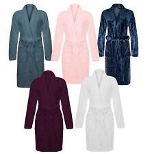 Ladies Luxury Soft Plush Fleece Bathrobe Dressing Gown Warm Comfort Cosy Shower