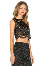 Keepsake True Faith Black Lace Cut Out Silk Top T Shirt Embroidery XS S 6 8
