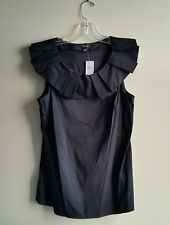 Ann Taylor Cotton Blend Top, Pleated Neck Detail, Black, Solid, Size M, NWT