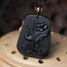 Natural obsidian pendant red-crowned crane mascot peace pendant