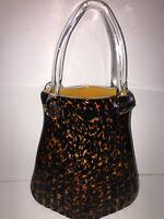 VNTG MURANO STYLE HAND BLOWN LEOPARD ART GLASS PLEATED PURSE HANDBAG VASE
