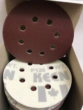 "200- 120 Grit 5"" H&L, 8 Vac Holes Sandpaper W/Holder Pad KEEN Abrasives 32446"