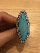 Boho Silver And Turquoise Howlite Ring
