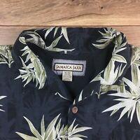 Jamaica Jaxx Silk Hawaiian Shirt Men's Size XL Short Sleeve Black