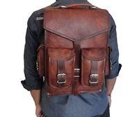 Vintage Brown Men's Leather Backpack Bag Shoulder Briefcase Rucksack Laptop Bag