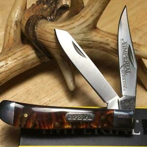 "Imperial Schrade Amber Swirl Trapper 3 1/2"" Pocket Knife IMP15T"