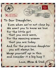 To Our Daughter Letter - Love Mom & Dad - Fleece Blanket Print In USA