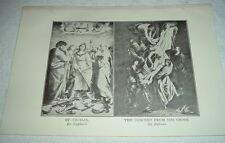 1919 ST CECILIA (Raphael) & THE DESCENT FROM THE CROSS (Rubens) Print