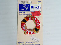 VINTAGE BIRCH MARINE CLUB EMBROIDERED PATCH WOVEN CLOTH IRON / SEW-ON BADGE