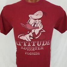 Disney Donald Duck Attitude Adjuster Maroon Graphic T Shirt 100% Cotton L Large