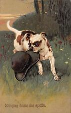 "PFB Bulldog~""Bringing Home The Spoils""~Carries Man's Hat~Emboss~Ser 8397~1910"
