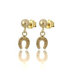 9ct Gold Horse Shoe Drop Stud Earrings / Studs / Dangle / Horseshoes