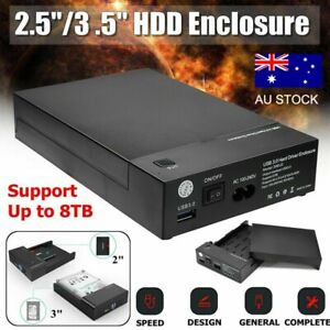 2.5/3.5 inch SATA External USB 3.0 Hard Drive Enclosure Caddy Case HDD Disk AU