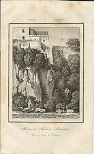Stampa antica SORRENTO Casa di Torquato Tasso Napoli 1835 Old antique print