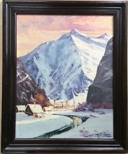 A.RAYNAUD 1890-1974 Montagne enneigée vallée rivière chalet SBDlumière Contencin