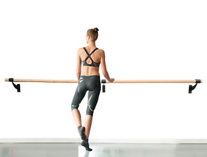 """Single Bar Ballet 1.5"""" Wood Fixed Height Wall Mounted Barre System 3' to 40'"""