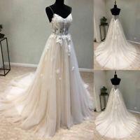 Spaghetti Straps A Line Lace Beach Wedding Dresses Corset Back Sweep Train