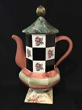 Mackenzie Childs Torquay Coffeepot Teapot Palm and Devon Clay Floral Stripe Excl