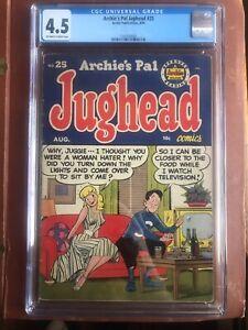 Archie's Pal Jughead 25 CGC 4.5 OW/W Betty Veronica GGA Headlights Pin Up Rare