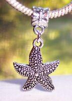 Starfish Seashell Beach Sea Star Dangle Charm for Silver European Bead Bracelets