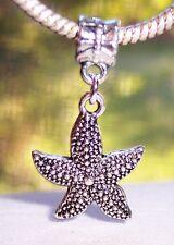 Starfish Seashell Beach Sea Star Dangle Bead for Silver European Charm Bracelets