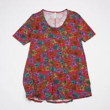 LuLaRoe Perfect T Pullover Tunic Top Short Sleeve Pink Magenta Floral Womens XS