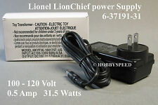LIONEL O GAUGE FASTRACK LIONCHIEF POWER SUPPLY 100 -120V 60HZ  0.5A  6-37191-31