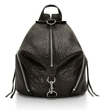 NWT REBECCA MINKOFF Full Size Julian Backpack BLACK Silver Leather Bag AUTHENTIC
